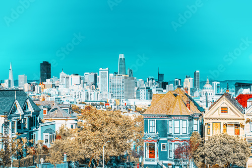 Photo Panoramic view of the San Francisco Painted ladies (Victorian Houses)