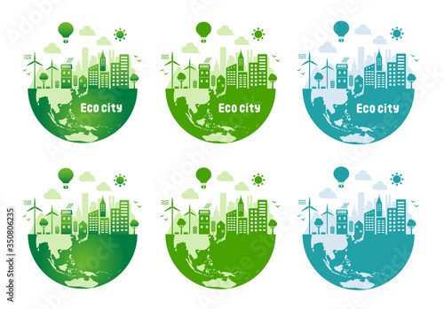 Fototapeta Green eco city vector illustration set ( ecology concept , nature conservation ) obraz
