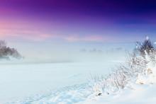 Frozen River During Purple Sunset