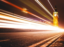 Light Trails On City Road Against Big Ben At Night
