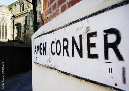 Photo Close-up Of Amen Corner Sign Near Church