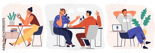 Set of cartoon smiling people listening and recording audio podcast or online show vector flat illustration. Joyful person radio host interviewing guest, mass media broadcasting isolated on white - 350823075