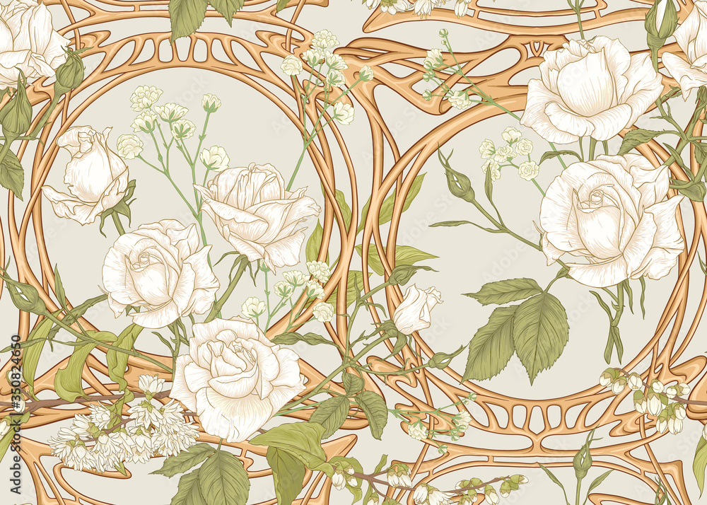 Fototapeta Vintage roses in a decorative imitation of a wicker basket made of twigs seamless pattern, background in art nouveau style, old, retro style. Colored vector illustration