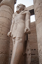 Statue And Hieroglyphic Carvin...