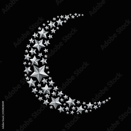 Tablou Canvas Silver stars in the shape of a crescent moon isolated on black