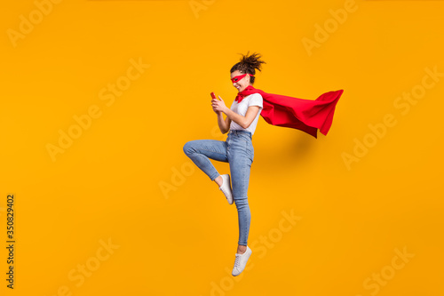 Full length body size view of her she nice attractive lovely cheerful focused gi Wallpaper Mural