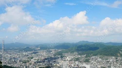 Fototapete - 都市風景 長崎市 タイムラプス