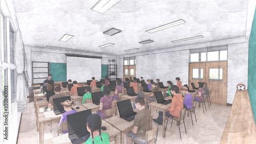 学校 教室 PC1人1台 文字無し イラスト22 Wallpaper Mural