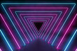 canvas print picture - Ultraviolet 3D neon light background with triangle tunnel in concrete floor and cement wall, 3d rendering of holographic technology for virtual reality pink cyan spectrum laser show
