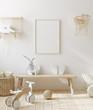 Leinwanddruck Bild - Mock up frame in children room with natural wooden furniture, Scandinavian style interior background, 3D render