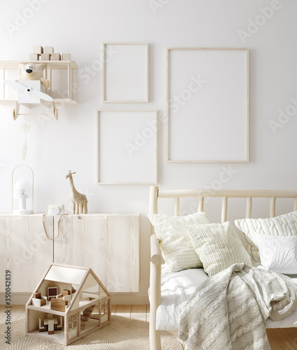 Obraz Mock up frame in children room with natural wooden furniture, Scandinavian style interior background, 3D render - fototapety do salonu