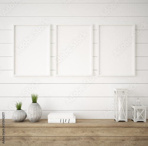 Mockup frame in farmhouse living room interior, 3d render - 350842877