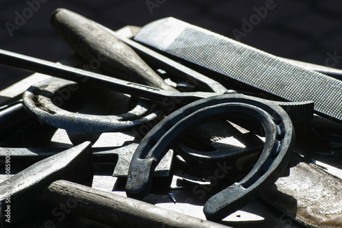 Fotografie, Obraz Close-up Of Horse Shoe And Equipment During Sunny Day