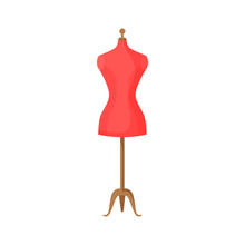 Tailors Dummy Illustration. Red, Mannequin, Simulator. Needlework Concept. Illustration Can Be Used For Topics Like Household, Workshop