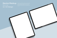 Tablet Isometric Perspective View. Template For Infographics Or Presentation UI Design Interface. Vector Illustration