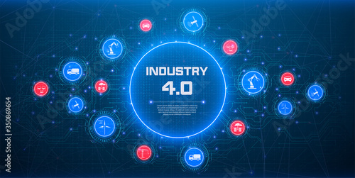 Obraz Concept of Industry 4.0. Automation, the flow of the icons, data exchange technology in production. Internet of things (IoT) networking concept for connected devices. Spider web of network connections - fototapety do salonu
