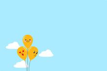 Three Yellow Balloons Floating...