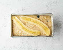 Homemade Banana Bread. Dough For Cake In Pan Loaf. Step By Step Recipe. Step 11.