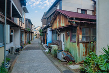 Japan. A Narrow Street In A Japanese City. Low-rise Apartment Buildings In Tokyo. Residential Quarter Of The Japanese City. Uncharacteristic Tokyo. Travel To Japan. Everyday Life Of The City.