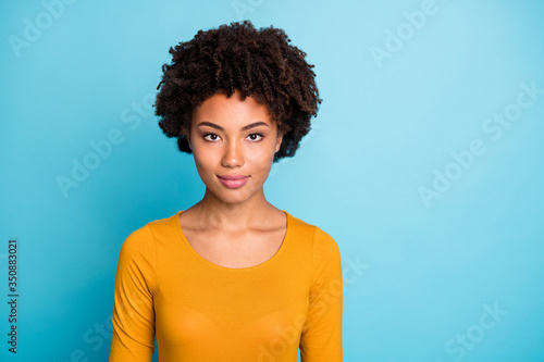 Fotografia, Obraz Portrait of cool charming afro american girl worker look good real professional