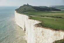 Scenic View Of Seven Sisters Cliffs By The Sea