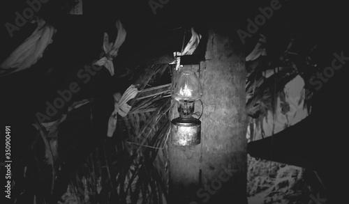 Canvastavla Illuminated Oil Lamp In Hut
