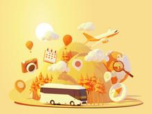 Vector Coach Bus Travel Summer...