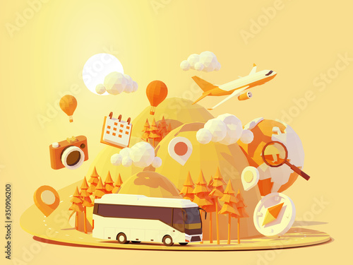 Obraz Vector coach bus travel summer journey illustration. Tour bus road trip. Road between mountains with pine trees, hot air balloons. Summer vacation and tourism in tourist bus - fototapety do salonu