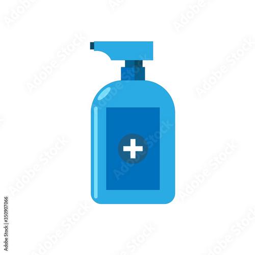 Obraz Antiseptic antibacterial liquid pump bottle for hygiene, medical use, vector flat illustration - fototapety do salonu