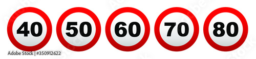 Cuadros en Lienzo speed limit sign on white background