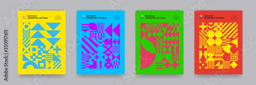 Tela Bauhaus geometric pattern background, vector circle, triangle and square shape art design
