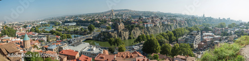 Panorama Cityscape Of Old Tbilisi. Metekhi Church Of Assumption In Historic Neighborhood Of Tbilisi. Central Part Of City With Famous Landmarks. Georgia 2020