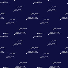 Abstract Blue Seamless Pattern With Birds Gull Hand Drawn, Bird Silhouette. Stylish Design For Fabric, Wallpaper, Wrapping.