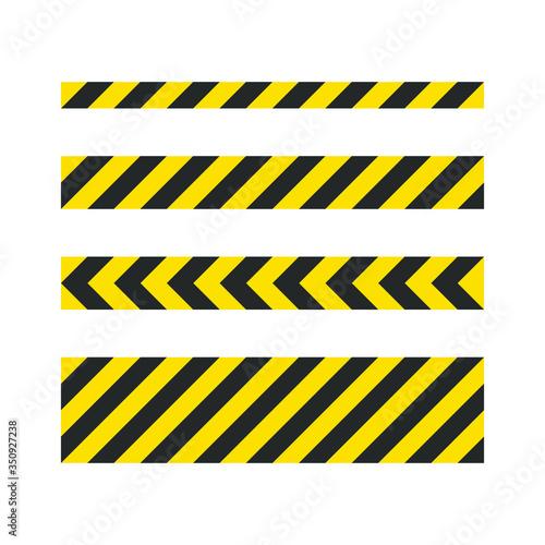 Leinwand Poster Black and yellow diagonal stripe vector icon collection