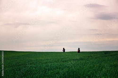 Fototapeta Preteen children, boys, running in green field on a cloudy day obraz