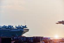 Battleship In The Harbor Front...