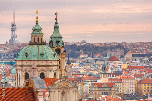 Aerial view over Old Town in Prague, Czech Republic Wallpaper Mural