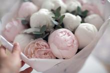 Bouquet Of Beautiful Elegant Pink Peonies