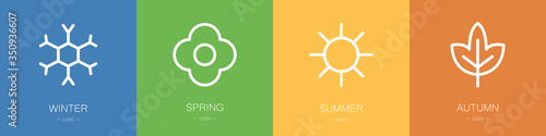 Obraz na plátně Four seasons icons set