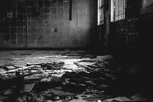 Broken Tile Floor In Abandoned House