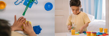 Collage Of Adorable Boy Sculpting Colorful Plasticine Figures, Panoramic Crop