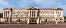 Landscape Panoramic Of Buckingham Palace, London, England First Thing In The Morning.