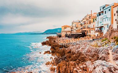 Fototapeta Architektura Rocky Coast of Cefalu old town Sicily reflex