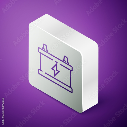 Isometric line Car battery icon isolated on purple background Canvas Print