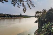 Mekong River View At Hin Mak Peng Temple, Nong Khai, Thailand.