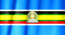 East African Community Flag Pattern On The Fabric Texture ,vintage Style