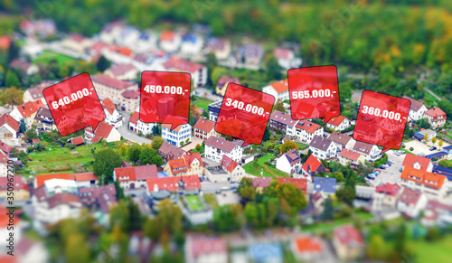 Immobilienpreise in einer Stadt