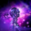 canvas print picture Cyberpunk dreamer awakens / 3D illustration of science fiction futuristic robot character with glowing bokeh background