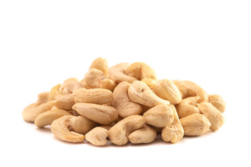 A Pile of Raw Natural Cashew Nuts Isolated on a White Background