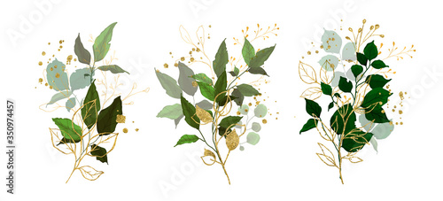 Obraz Gold leaves green tropical branch plants wedding bouquet with golden splatters isolated. Floral foliage vector illustration arrangement in watercolor style for wedding invitation card - fototapety do salonu